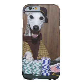 Dressed up Whippet dog at gambling table Barely There iPhone 6 Case