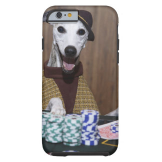 Dressed up Whippet dog at gambling table Tough iPhone 6 Case