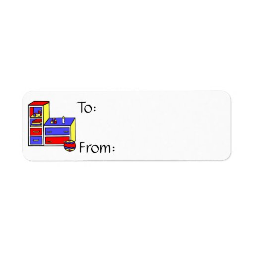 dresser primary coloured return address label