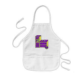 dresser yellow purple kids apron