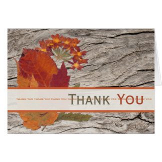 Dried Autumn Leaves and Flowers Thank You Card