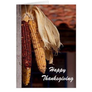 Dried Corn Photo Happy Thanksgiving Greeting Card