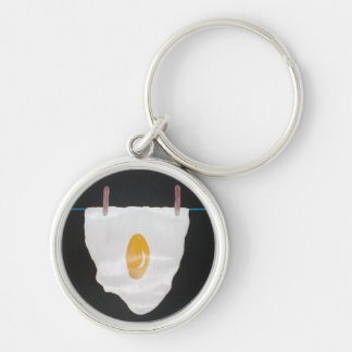 Dried Egg Silver-Colored Round Keychain