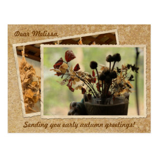 Dried Flowers Vintage Postcard Frame Early Autumn