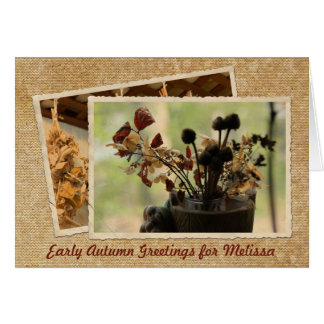 Dried Flowers Vintage Postcard Frame Early Autumn Greeting Card