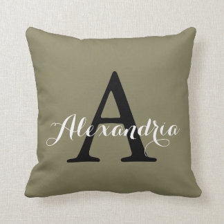 Dried Herb Olive Green Solid Color Monogram Throw Pillow