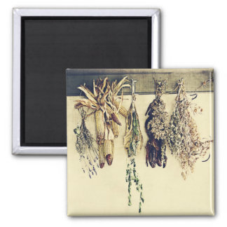 dried herbs, lavender and corn rustic still life magnet