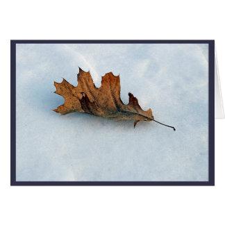 dried leaf on snow card