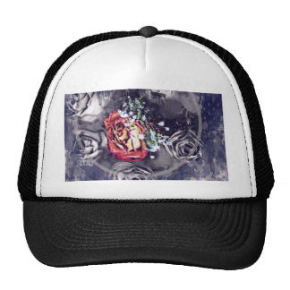 Dried Roses Black and Grey Trucker Hat