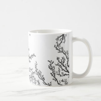 dried tree branches with birds and leaves coffee mug