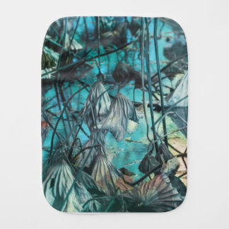 dried waterlily and reflection on lake in autumn burp cloth