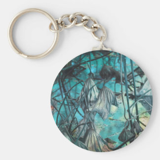 dried waterlily and reflection on lake in autumn keychain