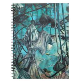 dried waterlily and reflection on lake in autumn spiral notebook