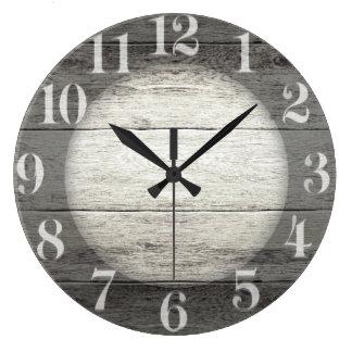 Driftwood Background Large Clock