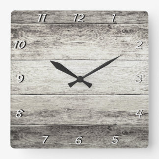 Driftwood Background Square Wall Clock