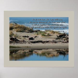 Driftwood Beach & River Isaiah 41:10 Print