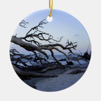 Driftwood Beach Round Ceramic Ornament