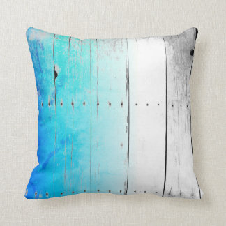 Driftwood Blue Painted Wood Weathered Nautical Throw Pillow