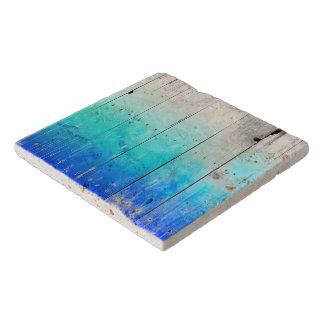 Driftwood Blue Painted Wood Weathered Nautical Trivet