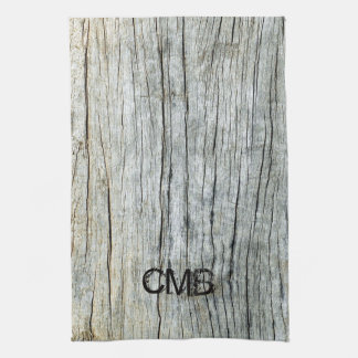 Driftwood in Shades of Gray Beach Personalized Kitchen Towel