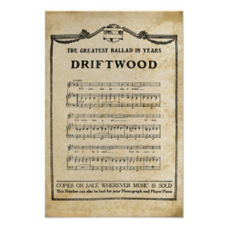 Driftwood Music Notes Antique Saloon Parchment Poster