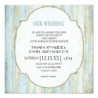 "Driftwood Ocean Beach Coastal Seashore Wedding 5.25"" Square Invitation Card"