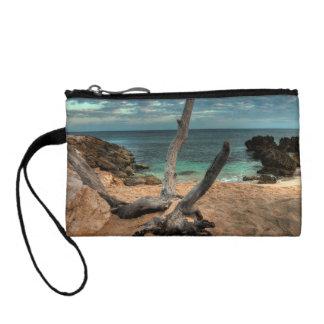 Driftwood on a Beach in Jamaica Coin Purse
