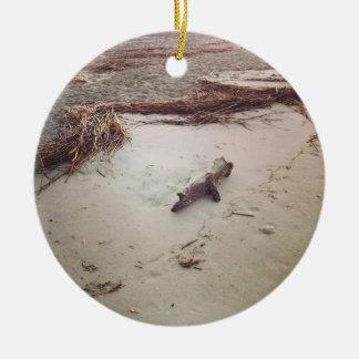 Driftwood on Sullivans Island Round Ceramic Ornament