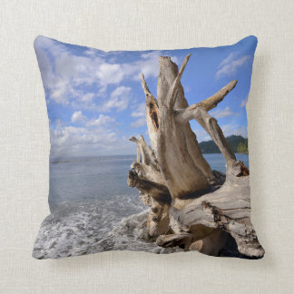 Driftwood On The Shoreline Of French Beach Throw Pillow