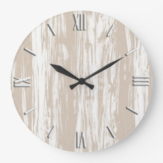 Driftwood pattern - taupe tan and white wall clocks
