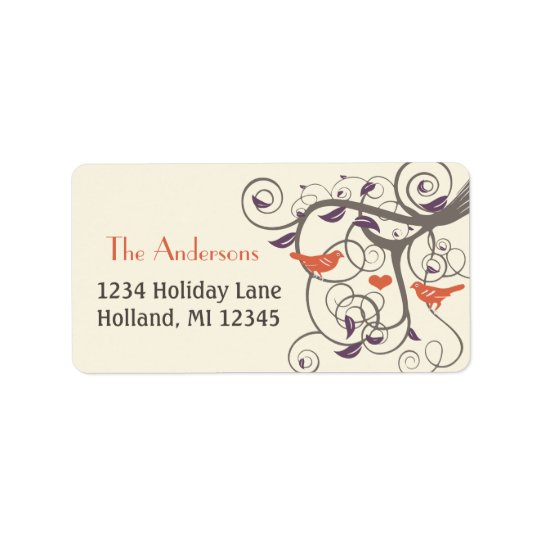 Driftwood Tree Orange Love Bird Return Address Label