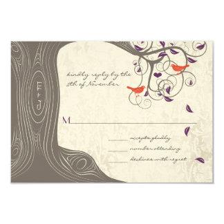 Driftwood Tree Swirl Love Birds Wedding RSVP Card