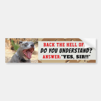 Drill Sergeant Pitbull Yes Sir Bumper Sticker