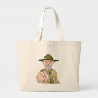 Drill Sergeant Pointing Large Tote Bag
