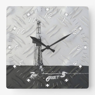 Drilling Rig Clock White Numbers
