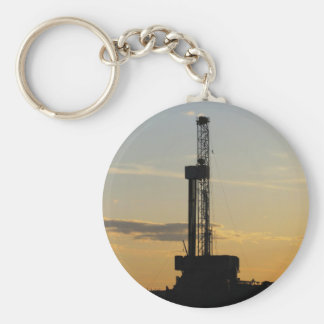Drilling Rig Silhouette Basic Round Button Keychain