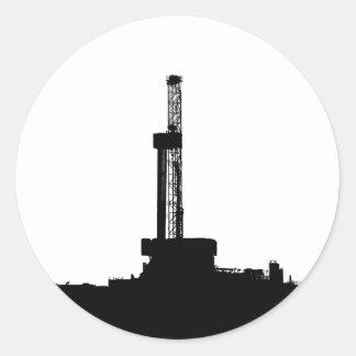 Drilling Rig Silhouette Round Sticker