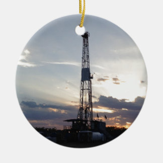 Drilling Rig Sunset Ceramic Ornament