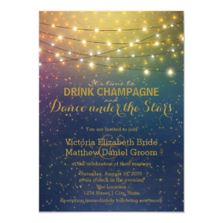 "Drink Champagne Dance Under The Stars Wedding 4.5"" X 6.25"" Invitation Card"