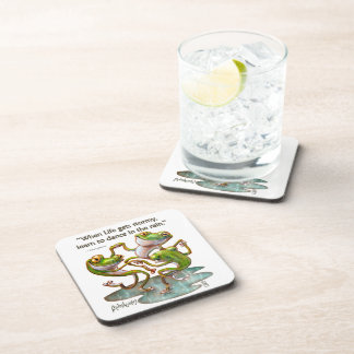 Drink Coaster: Frogs Dancing in Rain With Quote Coaster