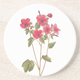 Drink Coaster with a flower vintage illustration