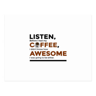 Drink Coffee Be Awesome Postcard