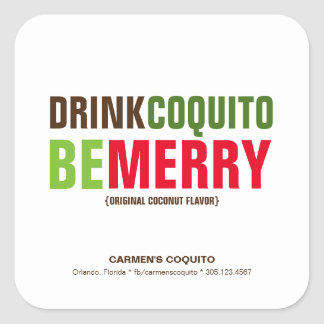 Drink Coquito Be Merry Christmas Square Sticker