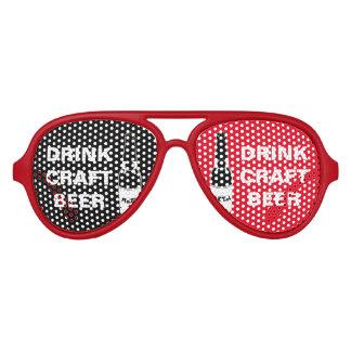 Drink Craft Beer-Black White Red Aviator Sunglasses