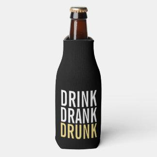 Drink Drank drunk | Black and Gold Chic Bottle Cooler