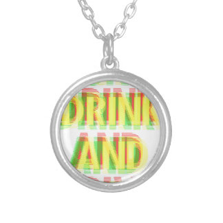 Drink & drive round pendant necklace