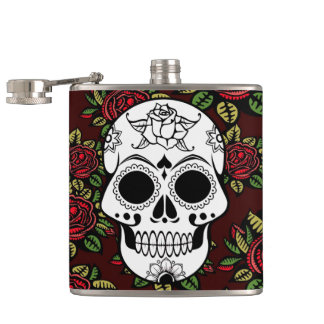 Drink Flask Retro art red roses sugar skull