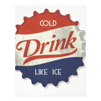 Drink Ice Cold Cola Bottle Cap Letterhead Template