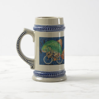 Drink like a Fish (or hipster) on a Bicycle 18 Oz Beer Stein