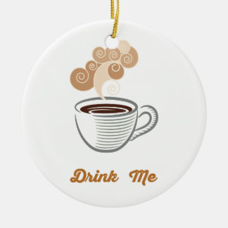 Drink Me  Eat Me Donut Coffee Retro Hipster Round Ceramic Ornament